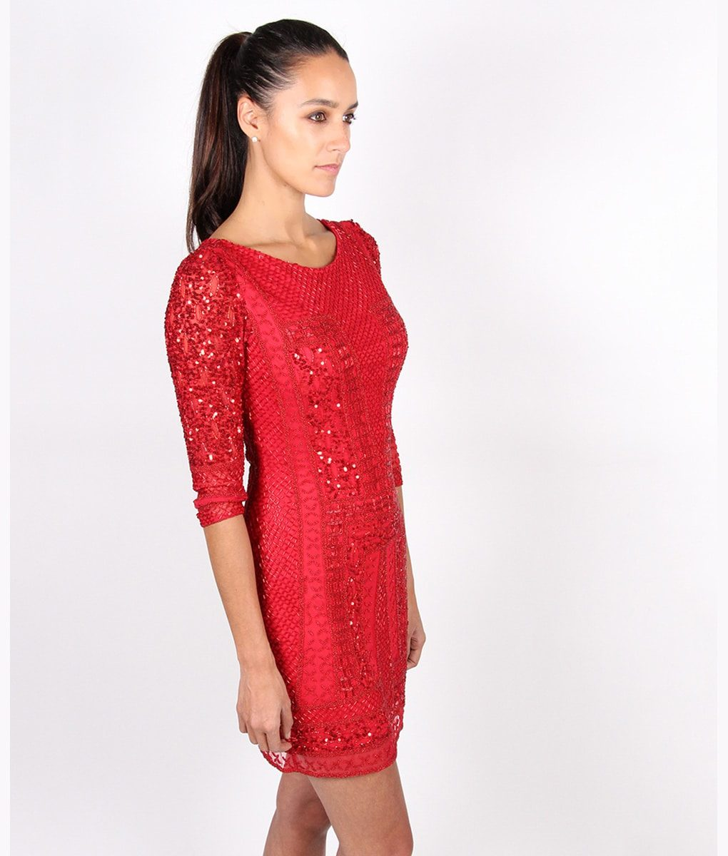 Alila-Red-Long-sleeve-Sequin-mini-dress-by-Scala-side