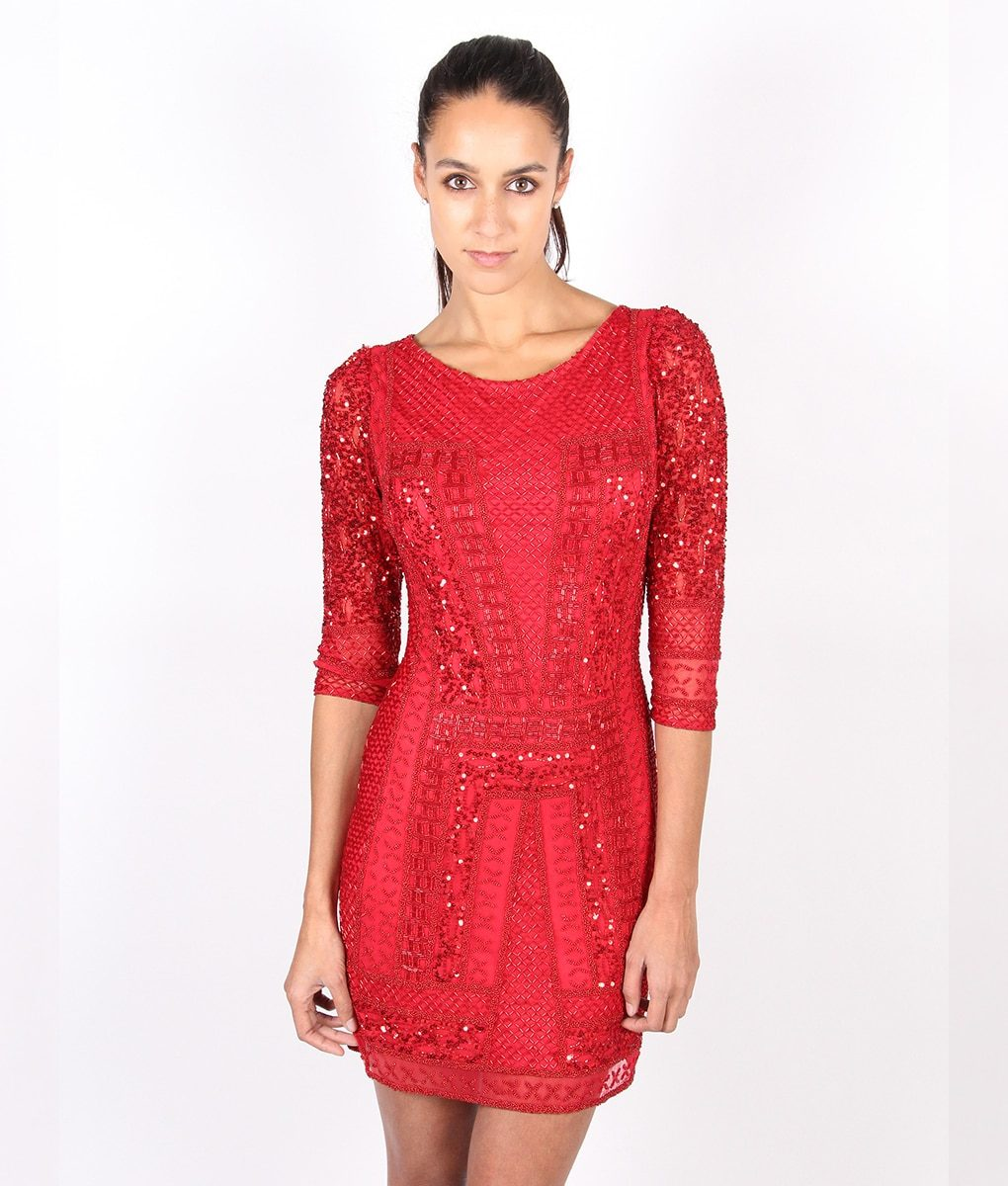 Alila-Red-Long-sleeve-Sequin-party-dress-by-Scala
