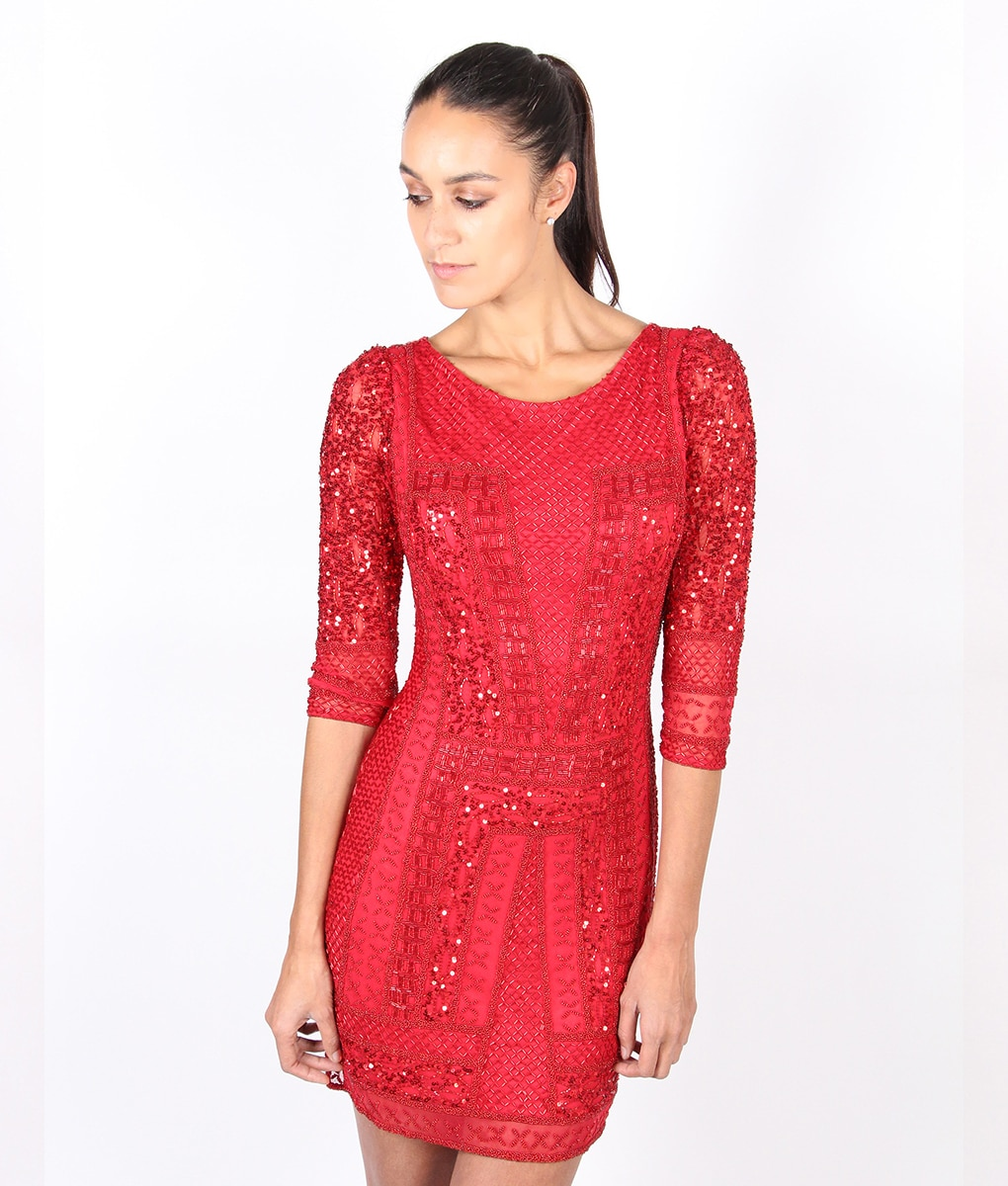 Alila-Red-Long-sleeve-Sequin-party-dress-by-Scala-side