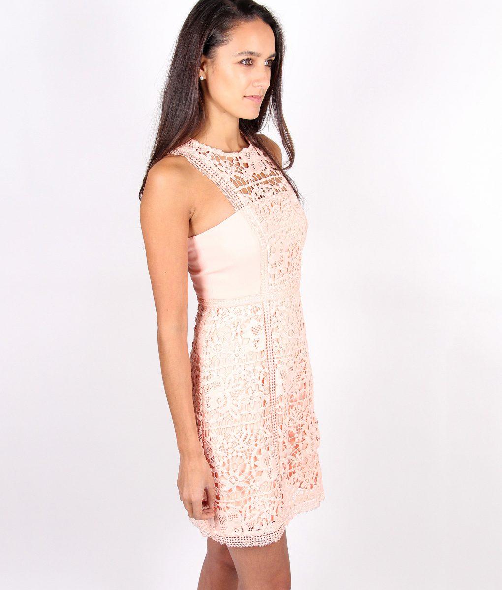 Lumier Peach Lace Dress side