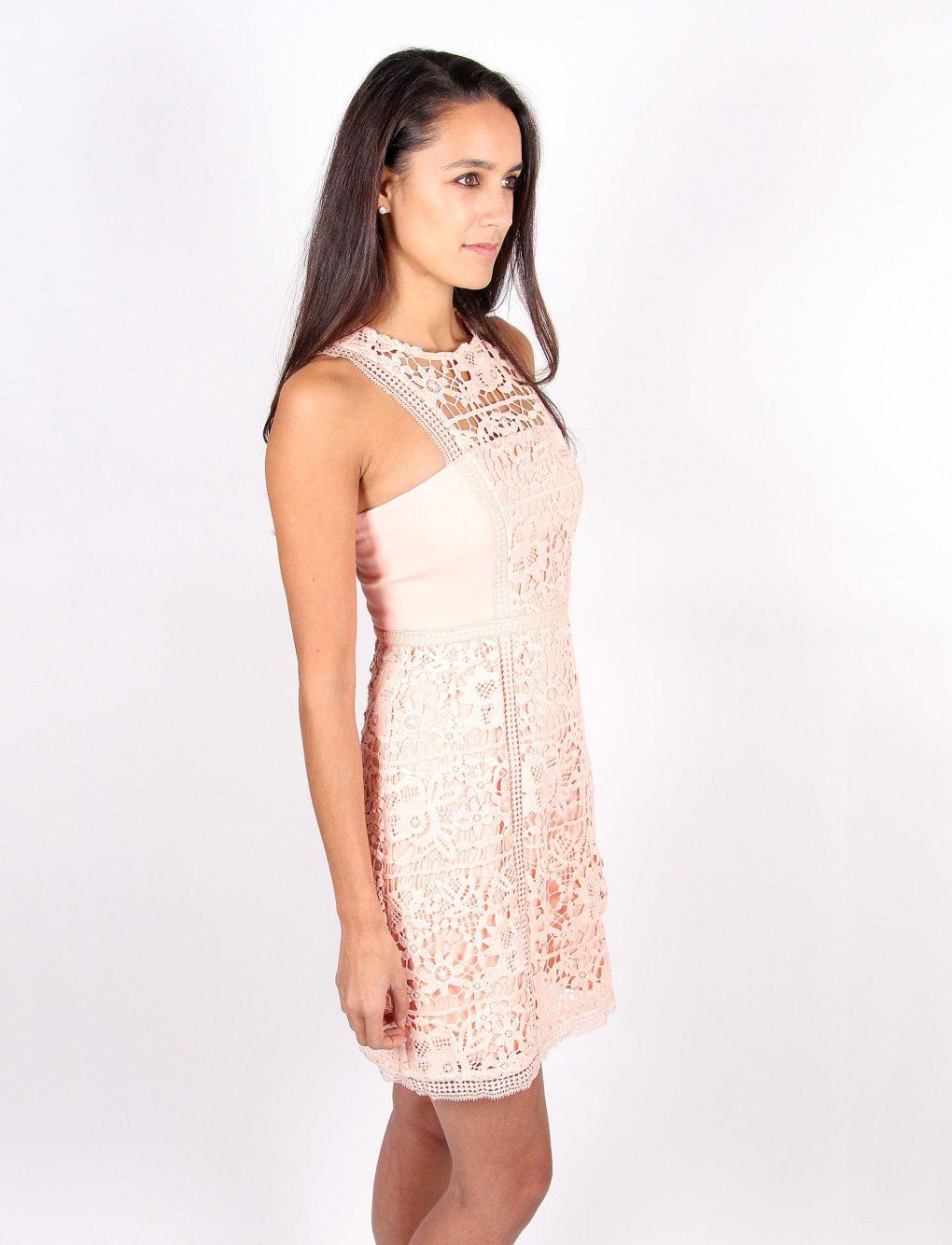 Alila Boutique Peach Lace Dress side