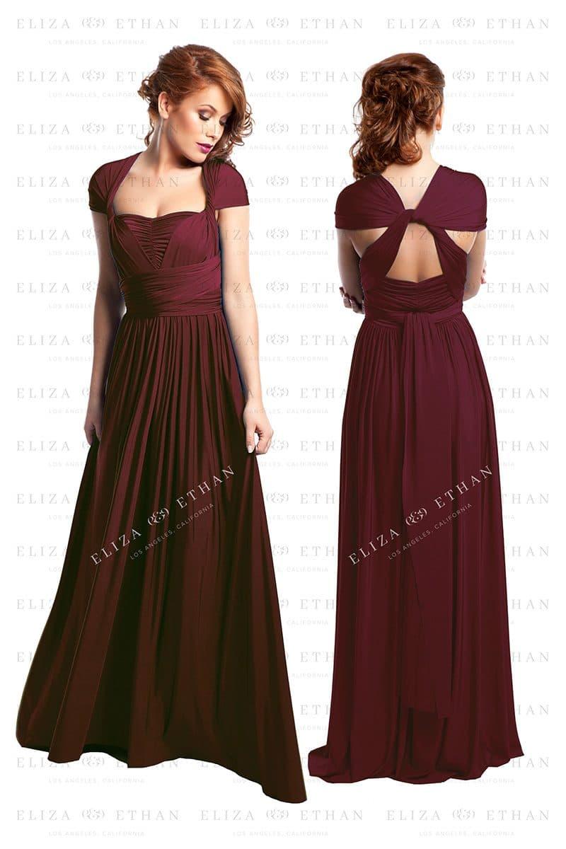 Alila-Burgundy-Multiwrap-Dress-front-back-Eliza-and-Ethan