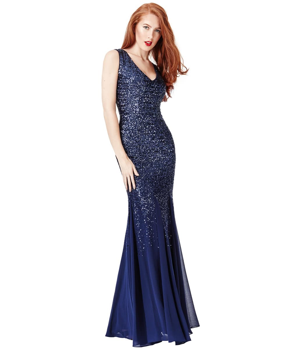 City Goddess - Navy Sequins & Chiffon Gown