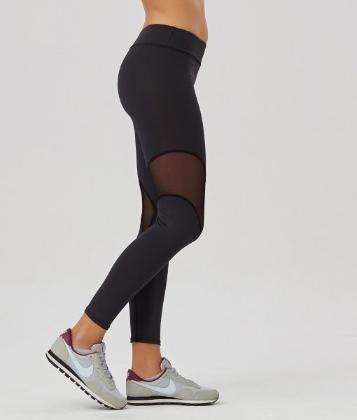 Alila Active Black Tulle Mesh workout leggings