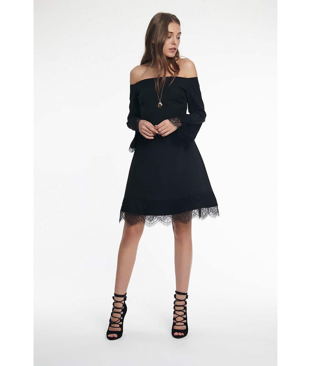 0e95c5a95923 Black Bardot Lace Detail Dress | Alila Boutique
