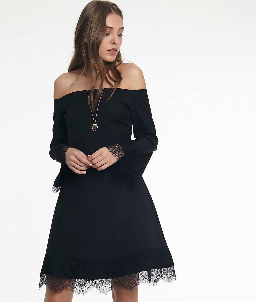 Alila-Black-off-the-shoulder-lace-trim-dress-Setre-LBD