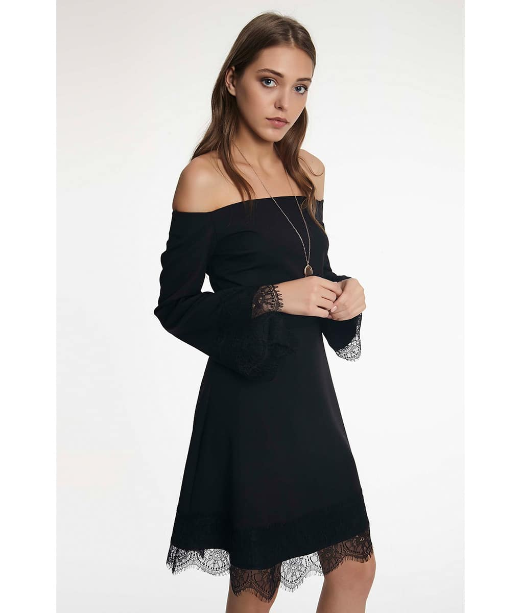 Alila-Black-off-the-shoulder-lace-trim-dress-Setre-detail