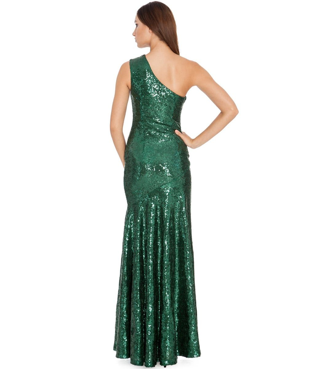 City Goddess - Emerald Green One-Shoulder Sequins Gown