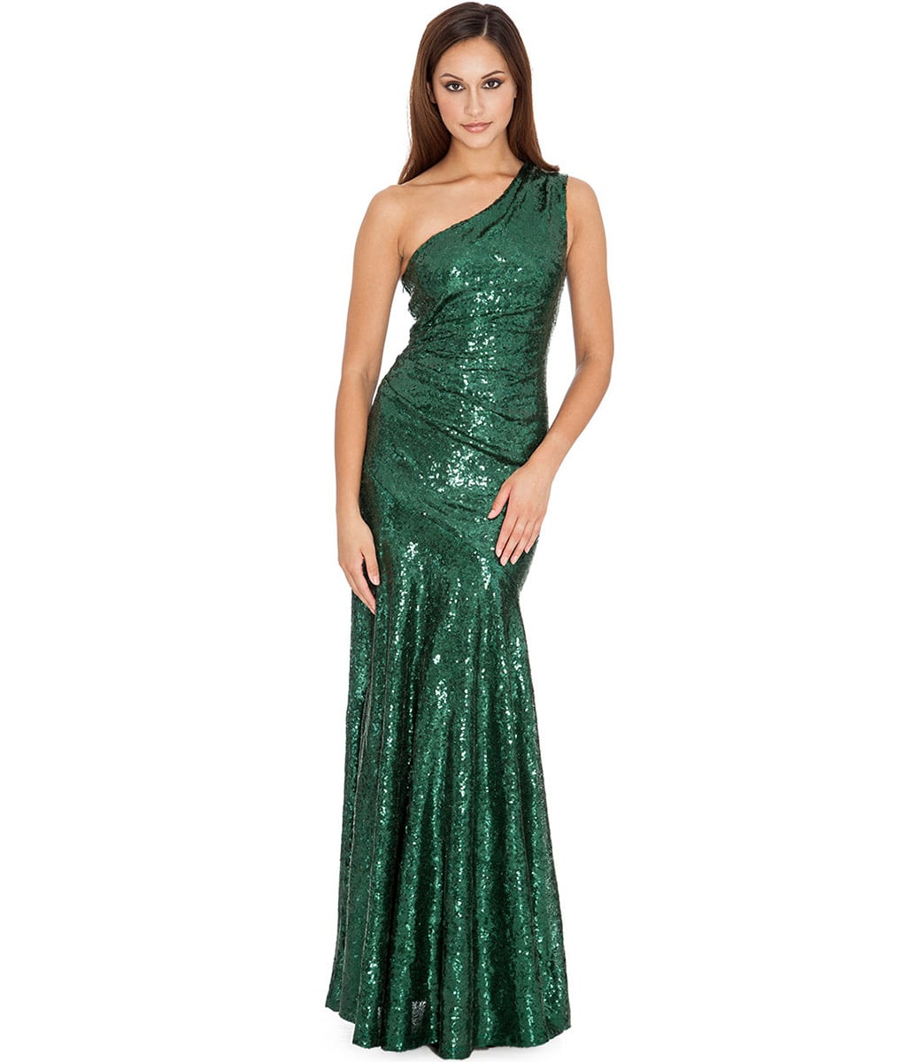 3b1aae91ef6 City Goddess - Emerald Green One-Shoulder Sequins Gown | Alila