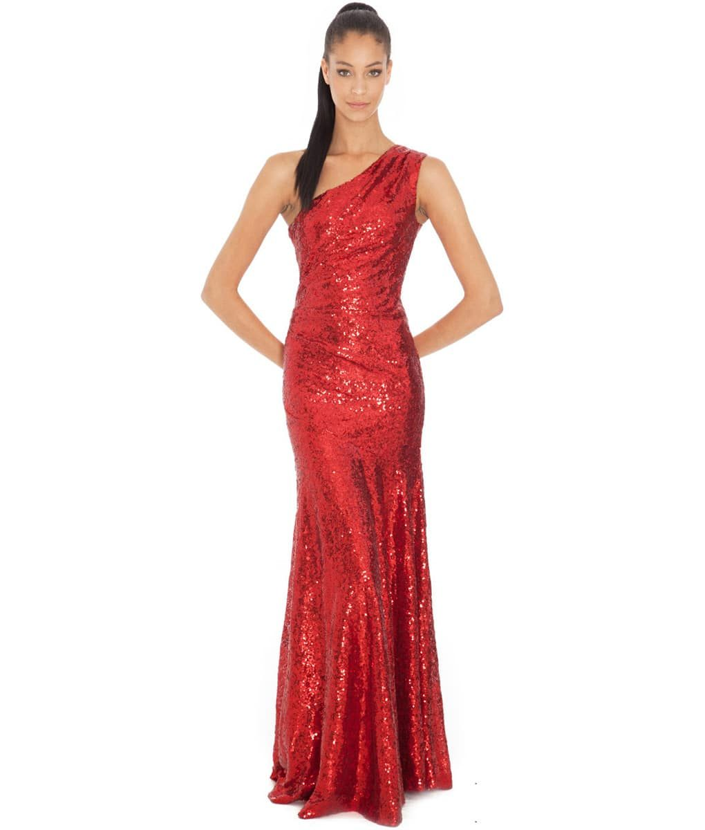 City Goddess - Red One - Shoulder Sequins Gown
