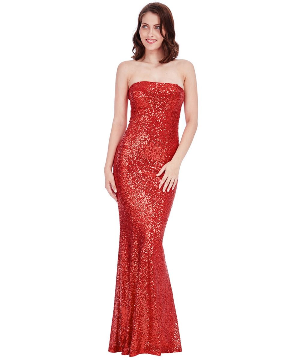 281ceec1 City Goddess - Red Strapless Sequin Gown | Alila Boutique