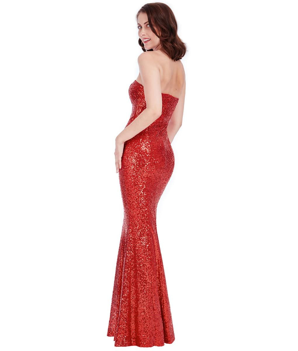 City Goddess - Red Strapless Sequin Gown