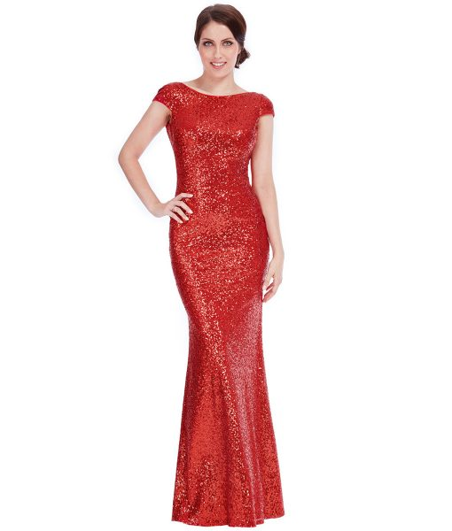 City Goddess - Red Sequin Cowl Neck Gown