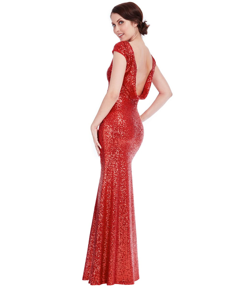 f1367ffe70 City Goddess - Red Sequin Cowl Neck Gown