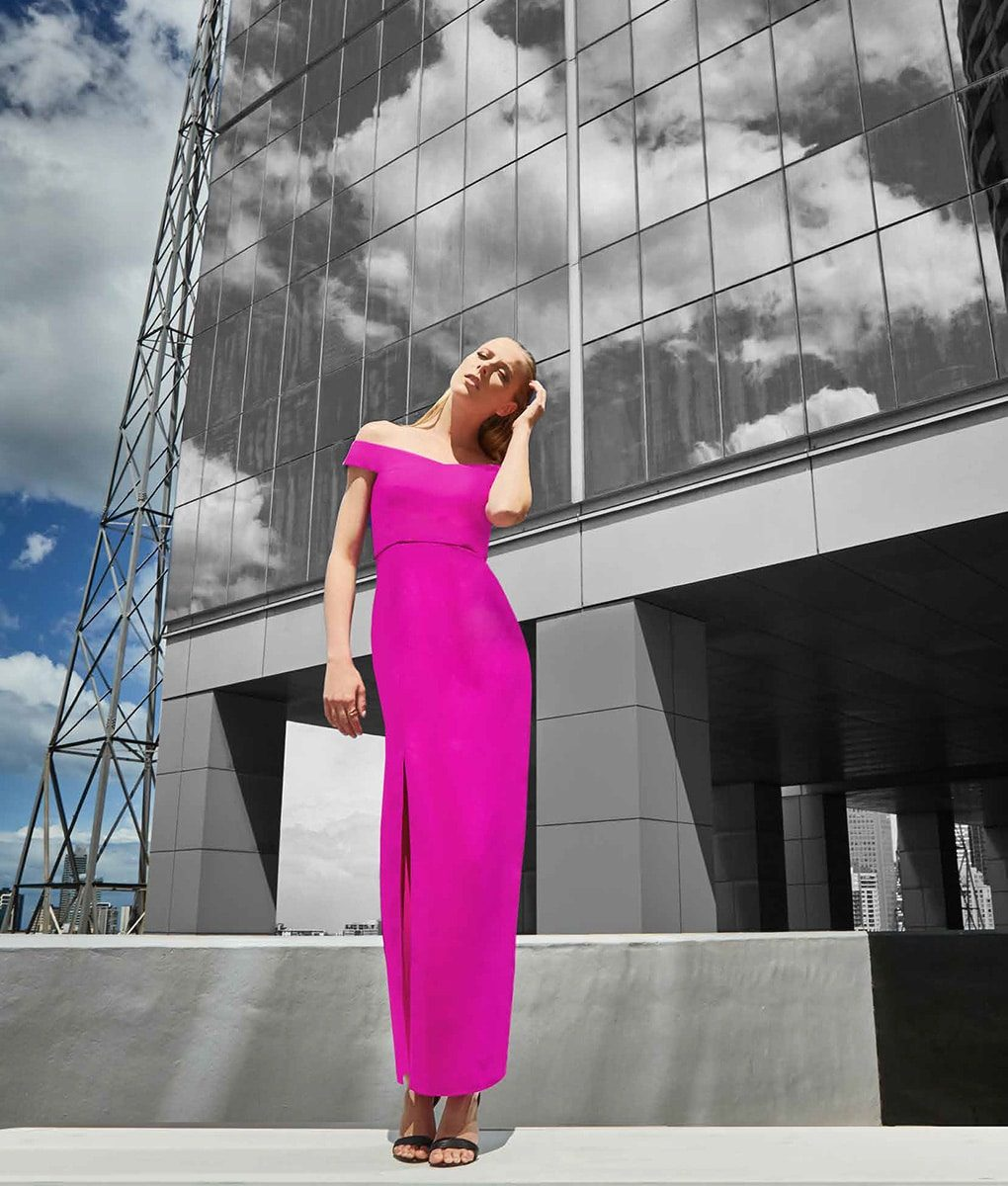 Alila Purple Off the Shoulder gown