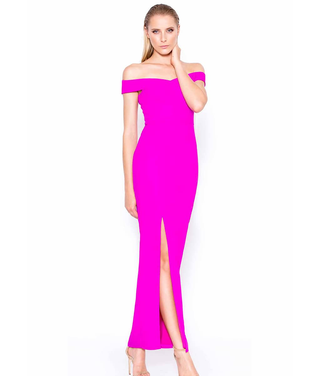 d52fc4d4a704 Lumier By Bariano Purple Bardot Gown
