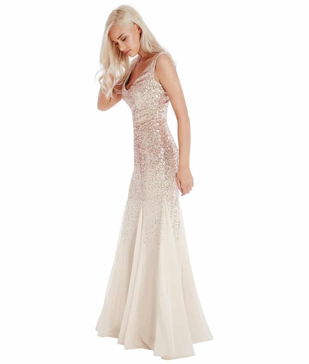 Alila-Champagne-v-neck-sequin-debs-dress-City-Goddess-front