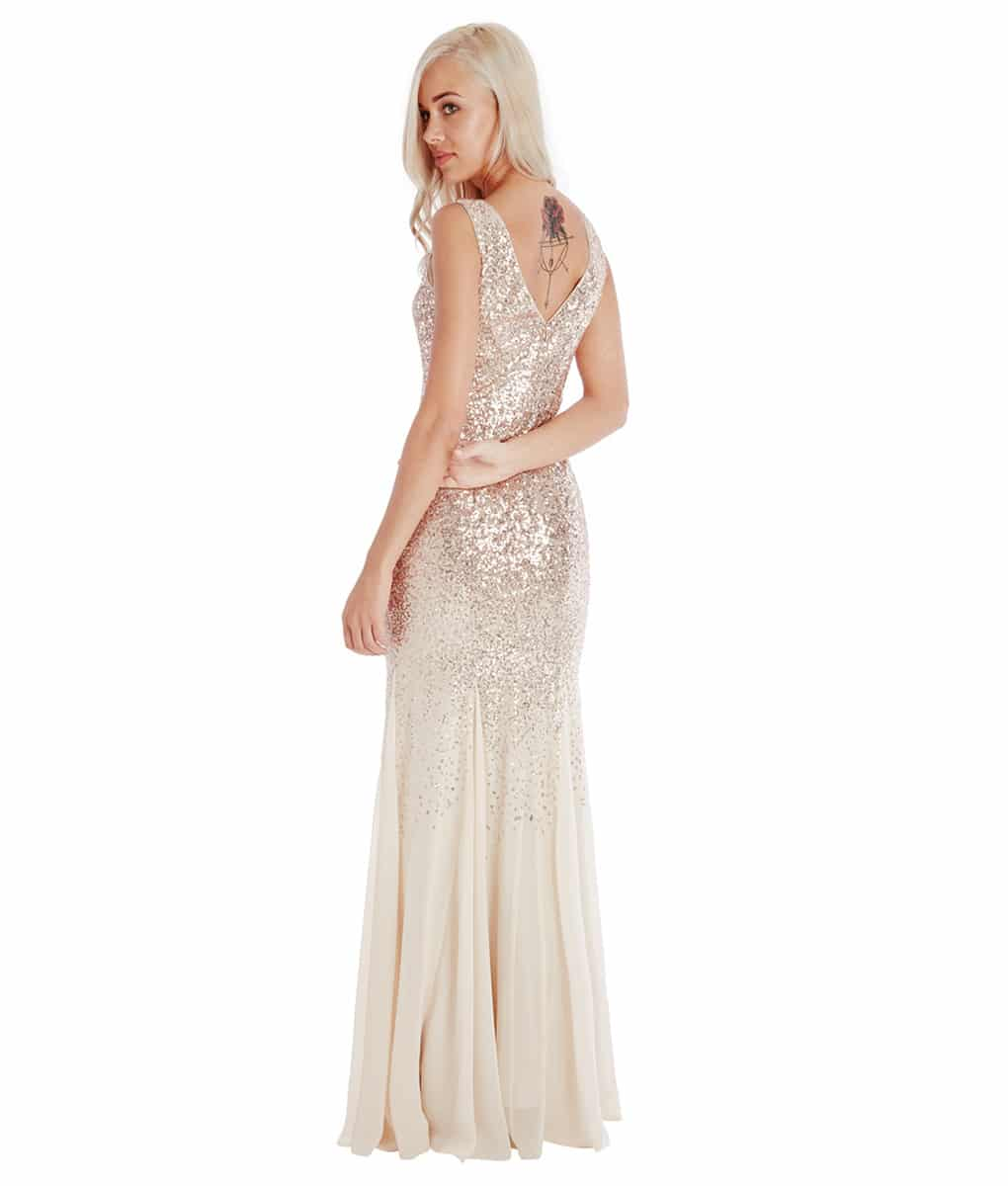 Dressing Gowns Uk: City Goddess - Champagne Sequins & Chiffon Gown