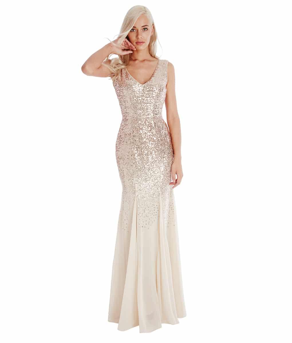 d5b84e5773b City Goddess - Champagne Sequins   Chiffon Gown
