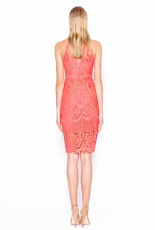 Alila Boutique Coral Halter Neck Lace Dress