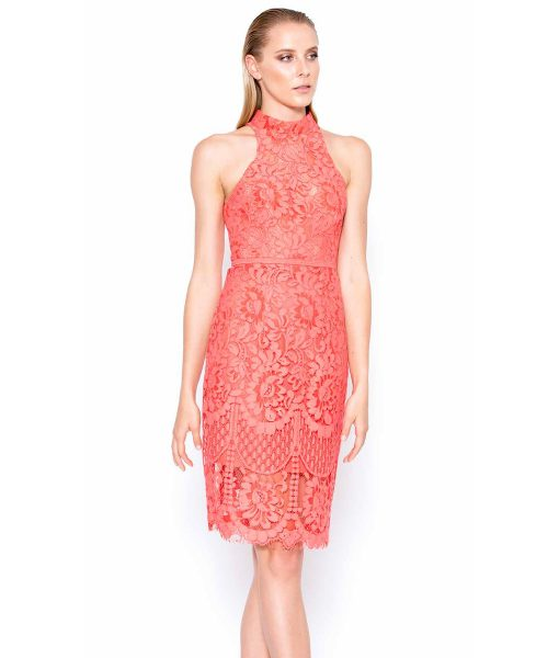 Alila Boutique Coral Halter Neck Lace Dress