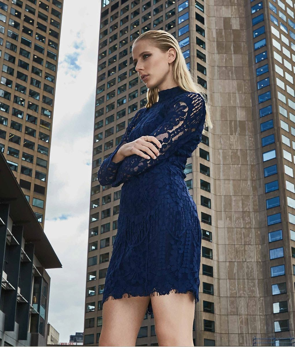 Alila Boutique Navy Lace Mini Long Sleeve Dress