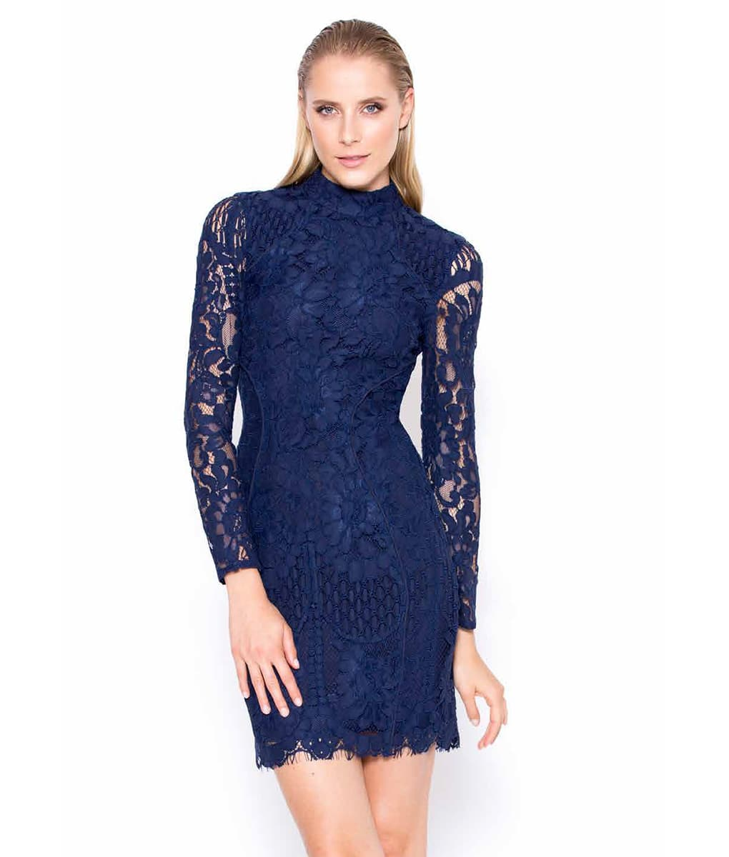 Alila-Navy-Lace-long-sleeve-mini-Lumier-Bariano
