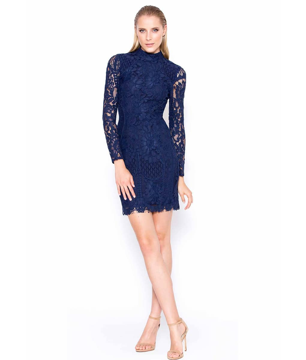 Lumier By Bariano - Navy Lace Long Sleeved Dress | Alila