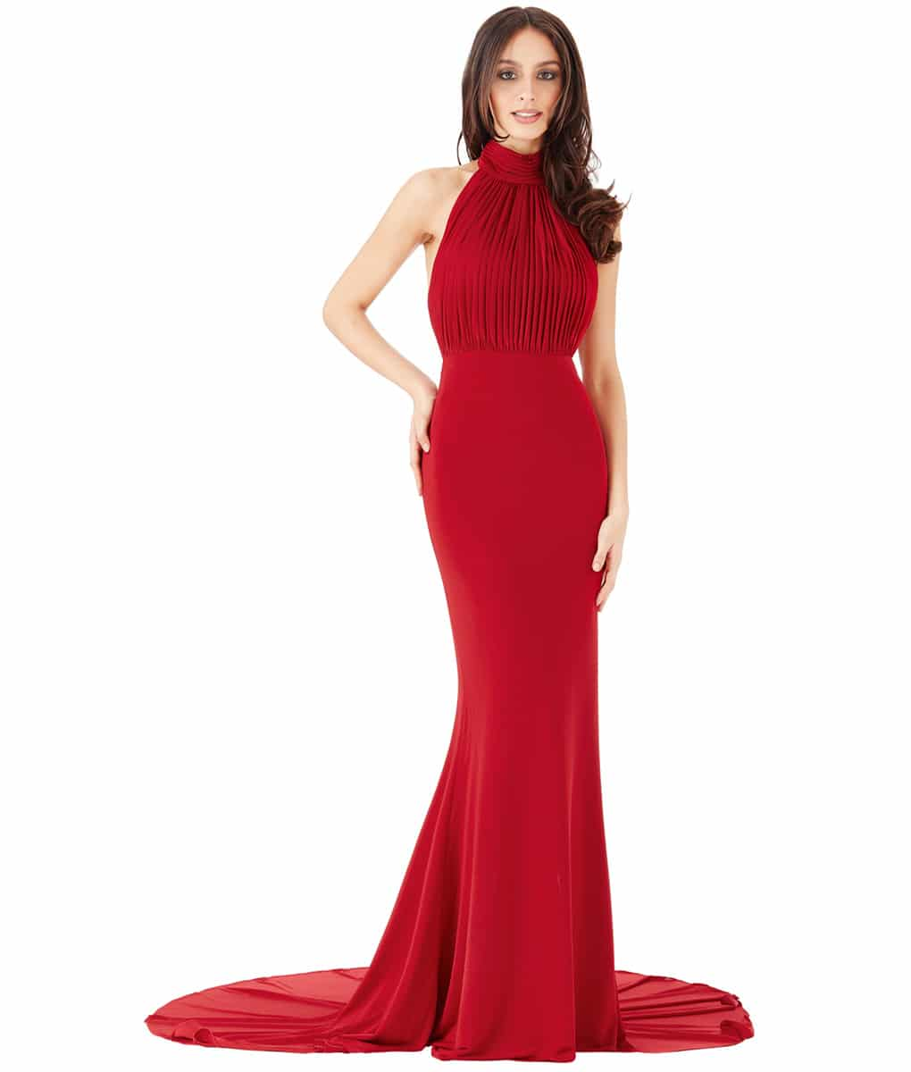 City Goddess Red High Neck Gown Alila Boutique