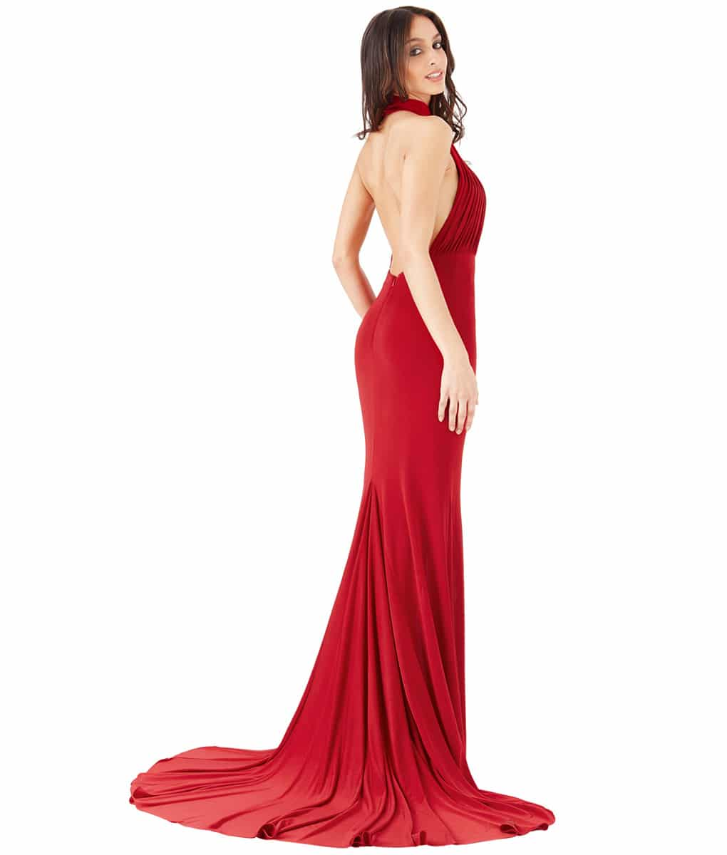 Alila Boutique Red Halter Neck Gown