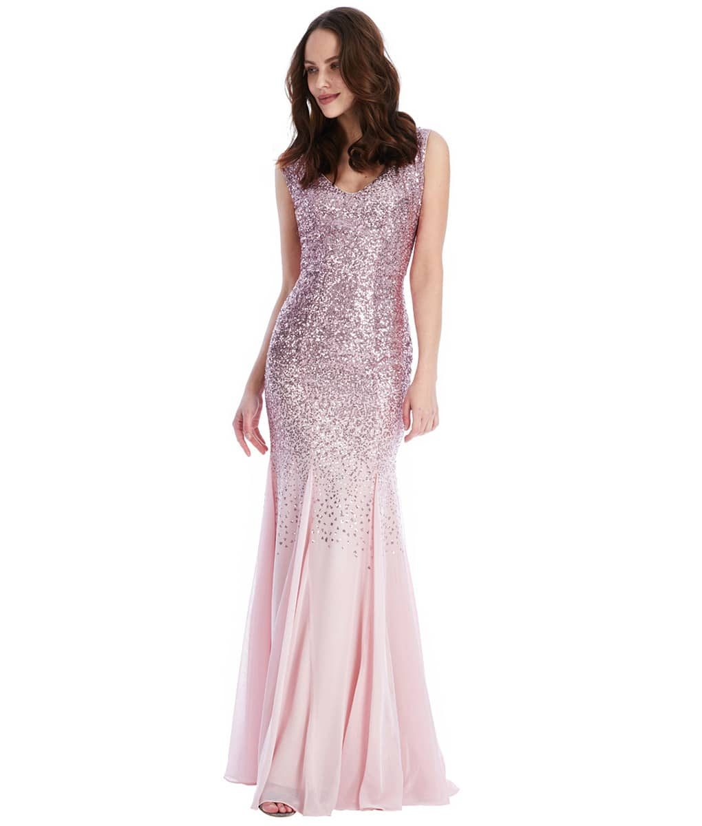 Alila Boutique Rose pink Sequins Gown