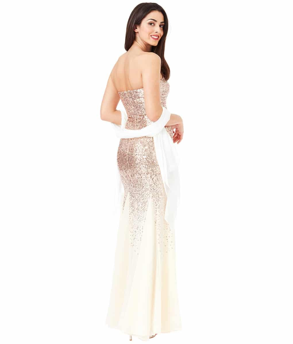 Alila Boutique Champagne Sequins Strapless Dress