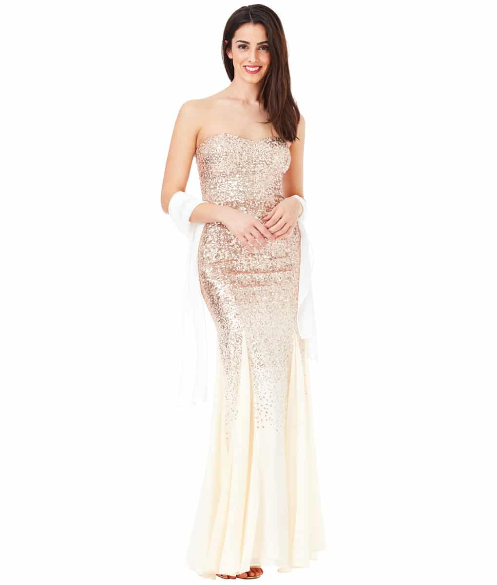 City Goddess - Champagne Sequins & Chiffon Gown | Alila Boutique
