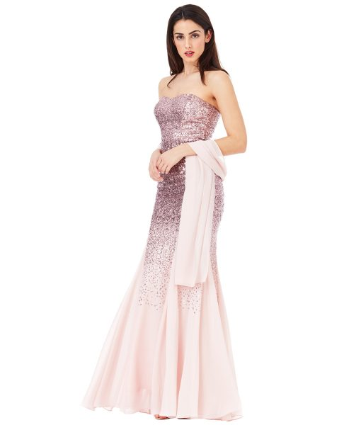 Alila-Strapless-Rose-Sequin-gown-city-goddess