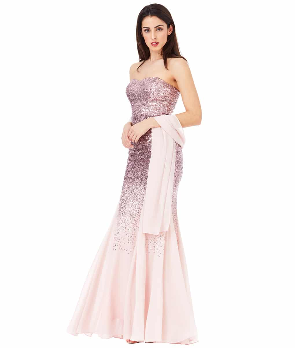 Alila-Strapless-Rose-Sequin-gown-city-goddess