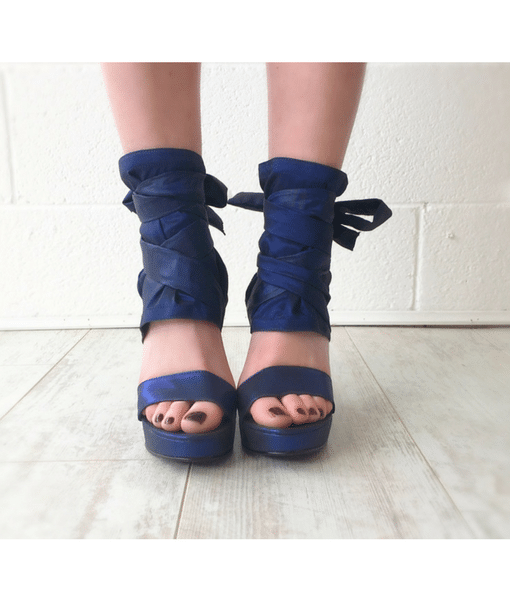 Blue wrap wedge front Alila Boutique