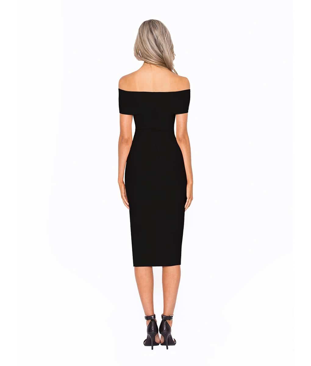 3e92e4a1beb Alila Boutique Black Bardot Bodycon Midi dress