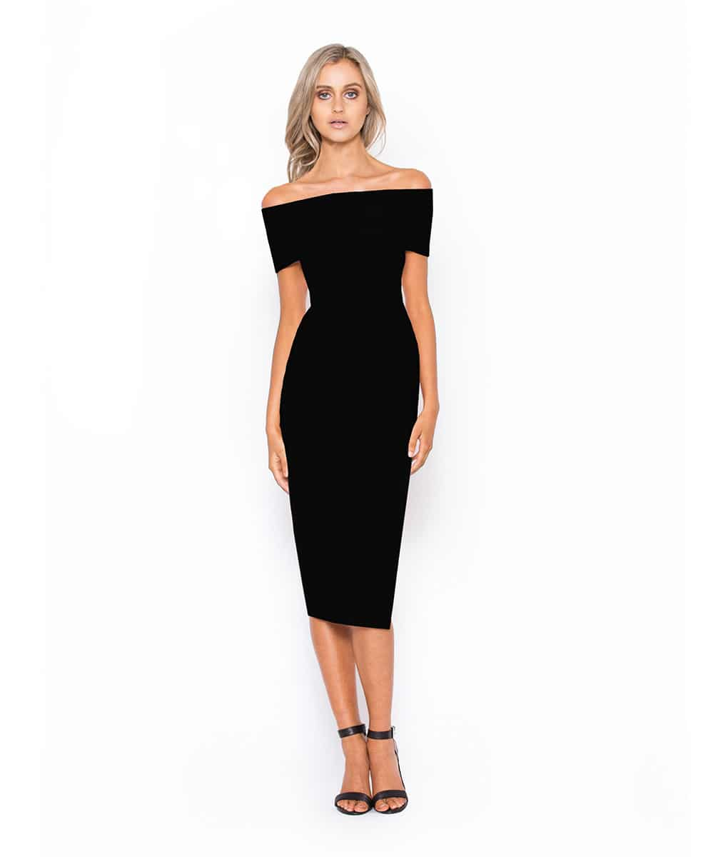 Alila Boutique Black Bardot Bodycon Midi dress