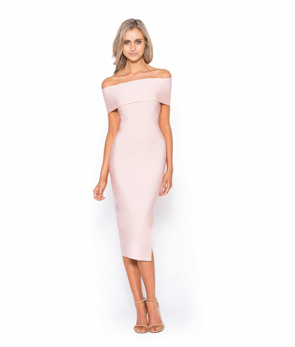 Alila Boutique Blush Bardot Bodycon Midi dress