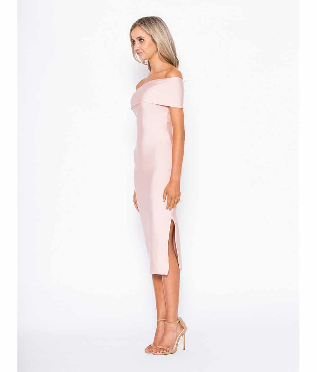 Alila Boutique Blush Bardot Bodycon Midi dress