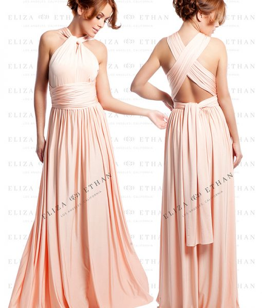Alila-Dusty-Peach-Multiwrap-Dress-Eliza-and-Ethan