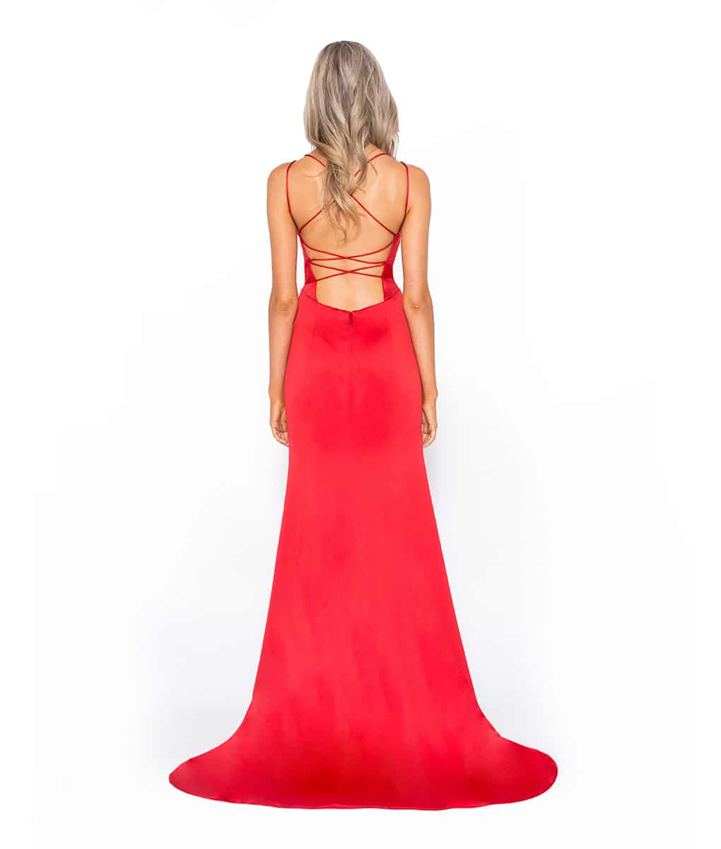 Alila-Red-Satin-Debs-Open-Back-Dress-Bariano