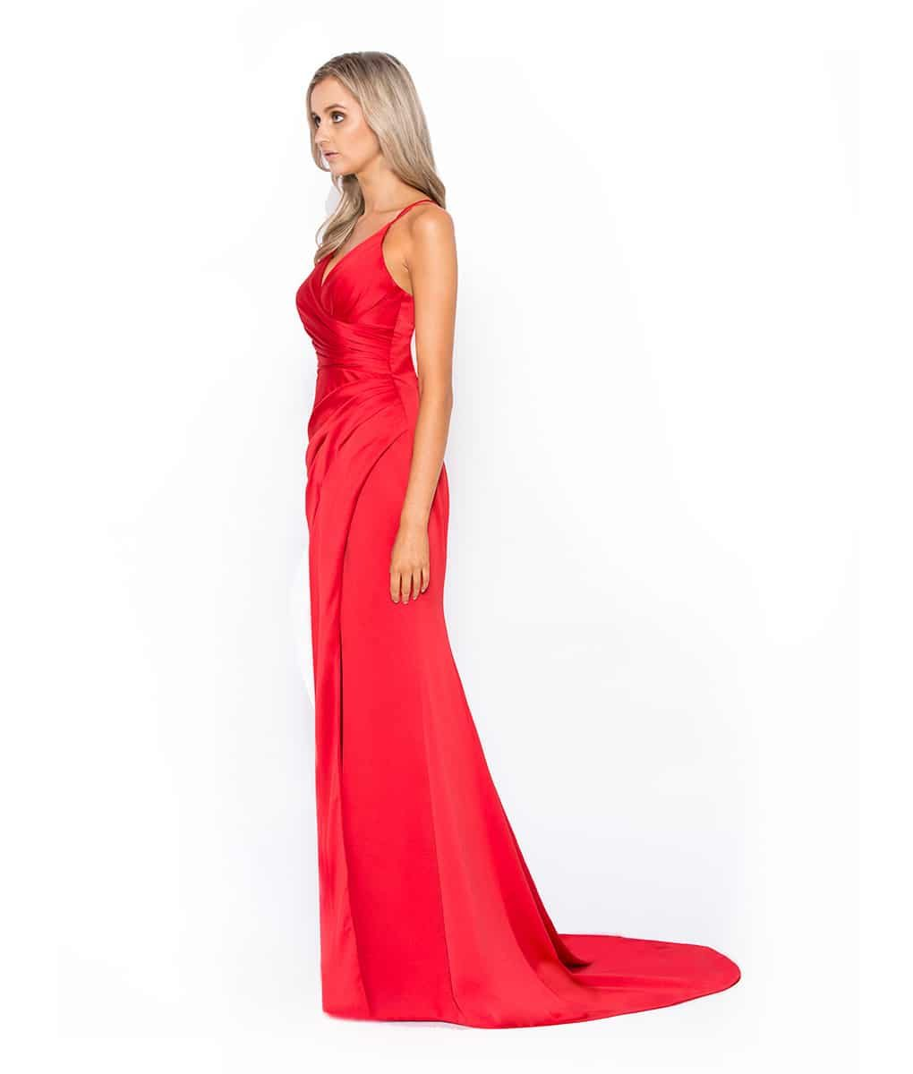 Red Satin Gown Alila Boutique