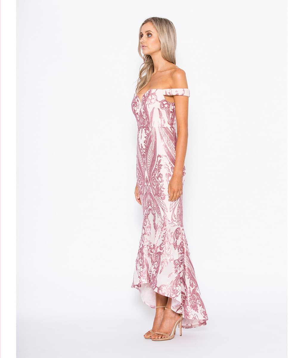 Alila Boutique Blush Dipped Hem Gown