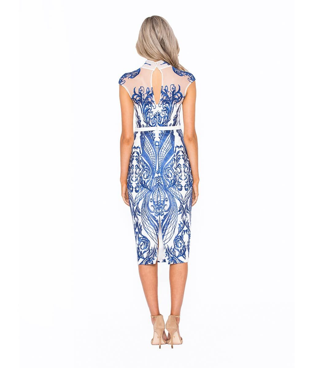 White & Cobalt Midi Lace Dress Alila Boutique