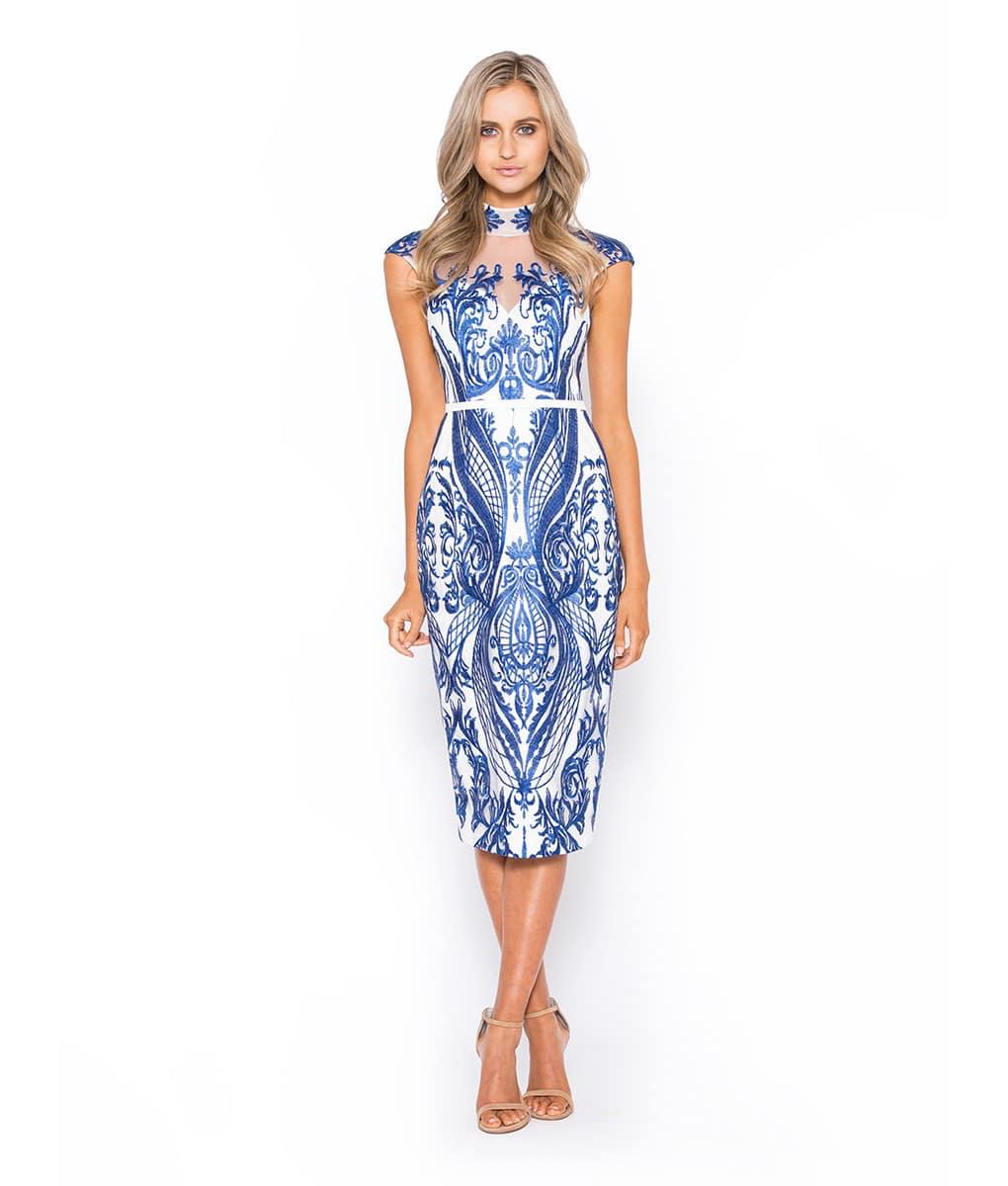 8af207e2c320 White   Cobalt Midi Lace Dress Alila Boutique