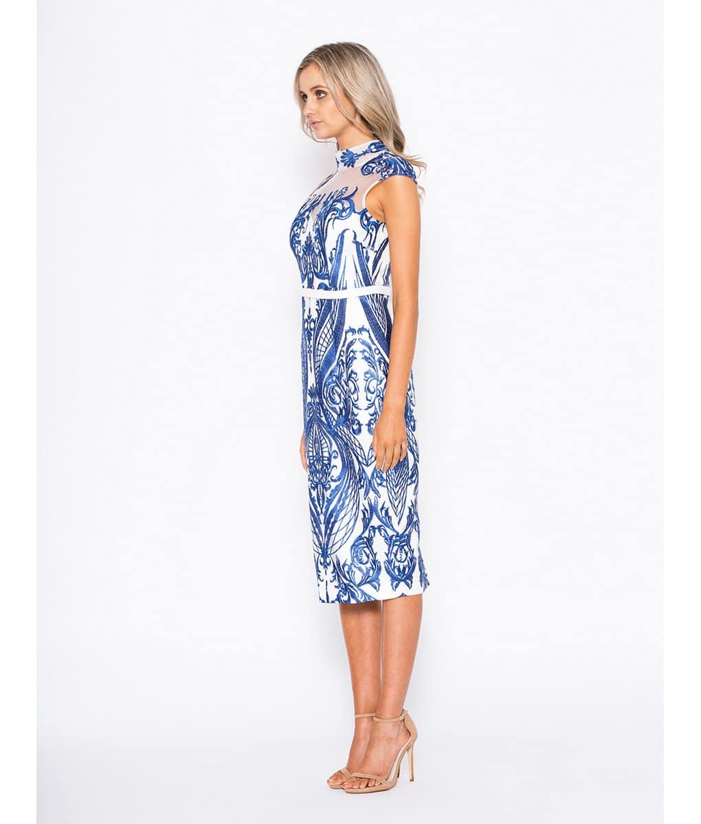 Alila-White-and-sapphire-Tailored-Midi-Races-Dress-Bariano