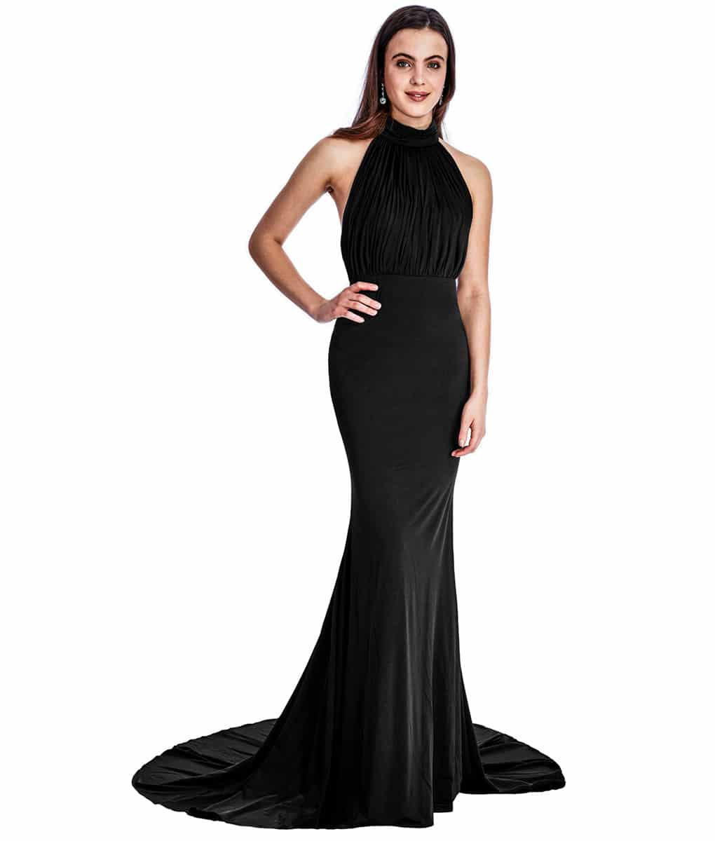 City Goddess - Black High-Neck Gown | Alila Boutique