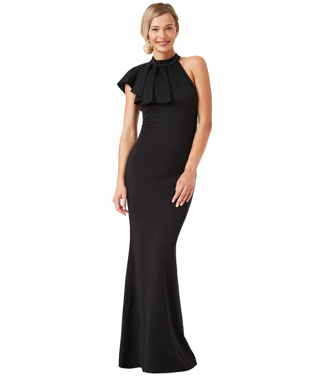 City Goddess - Black Ruffle Collar Gown
