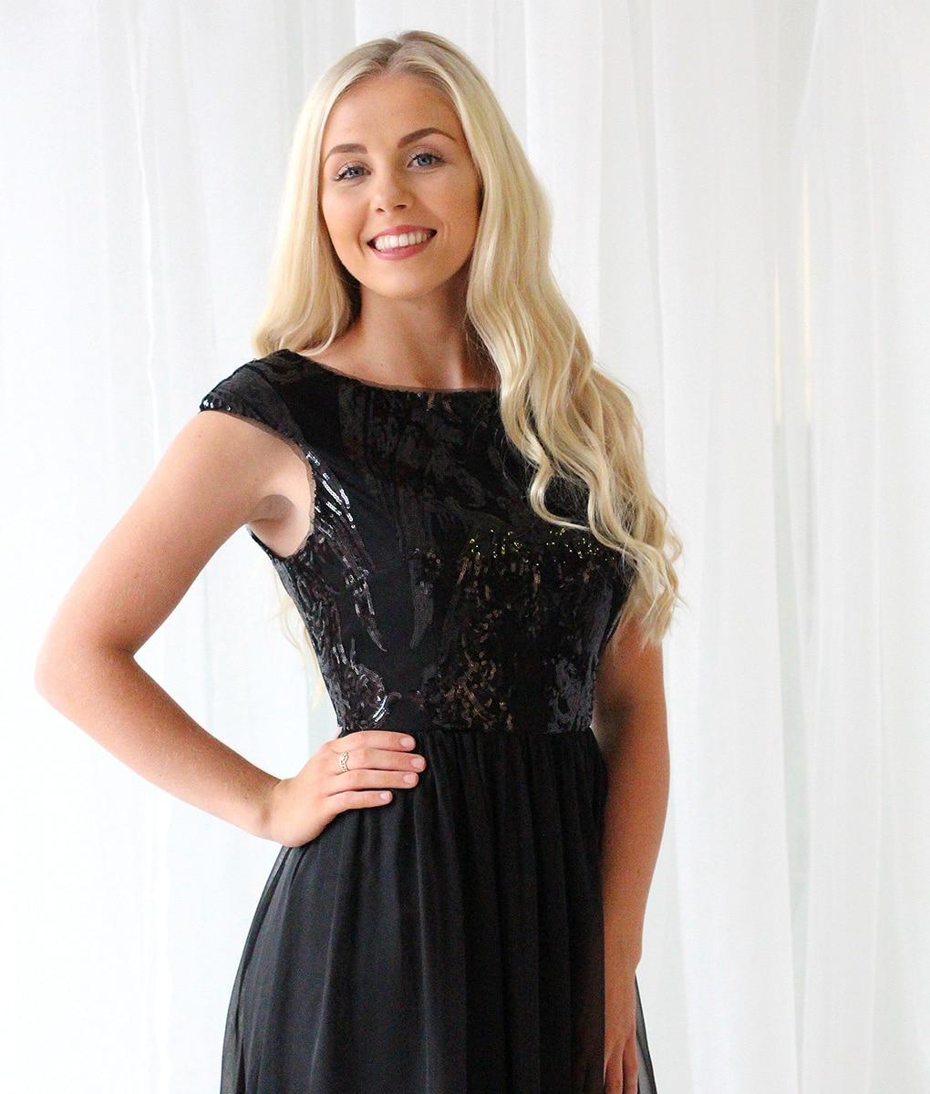 Alila-Black-Sequin-Chiffon-Bridesmaid-Dress-Bariano-gown